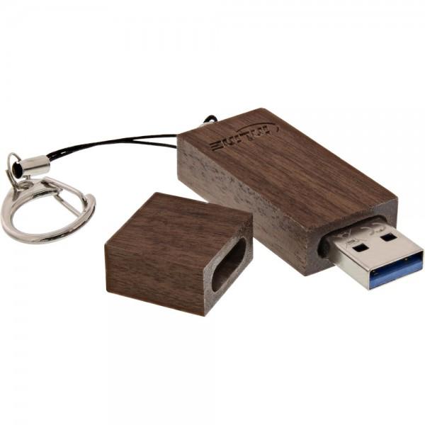 InLine® woodstick USB 3.0 Speicherstick, Walnuss, 8GB