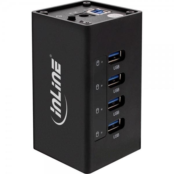 InLine® USB 3.0 Aluminium Hub, 4 Port, schwarz, mit 2,5A Netzteil