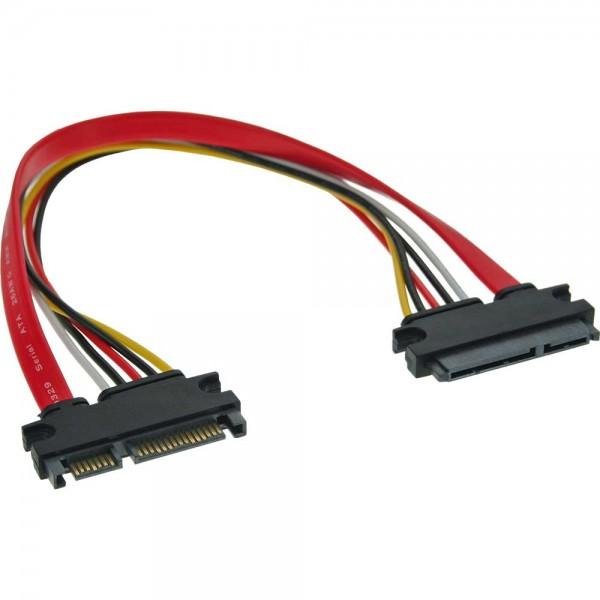 InLine® SATA+Strom Verlängerung intern, SATA 6Gb/s + Strom, Stecker / Buchse, 0,3m