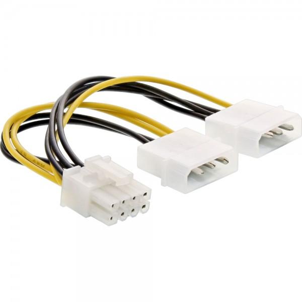 InLine® Stromadapter intern, 2x 4pol zu 8pol für PCIe (PCI-Express) Grafikkarten, 0,15m
