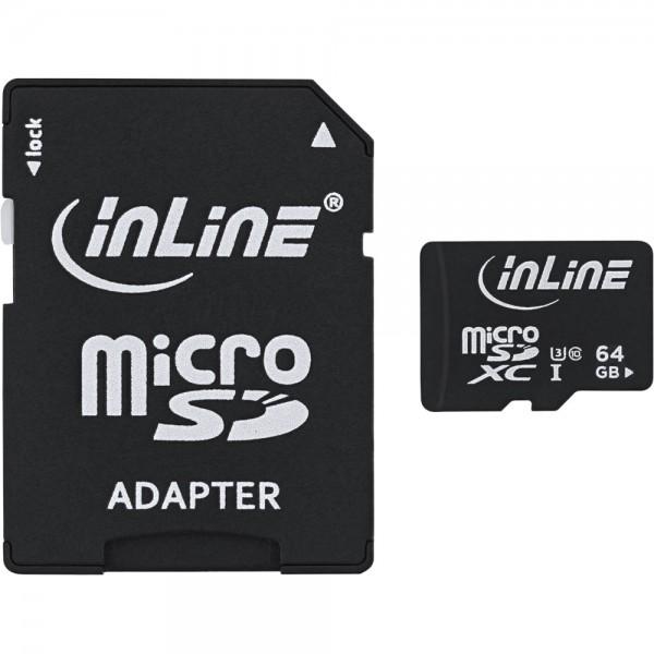 InLine® MicroSDXC Speicherkarte mit SD Adapter, Class 10/U3, 64GB