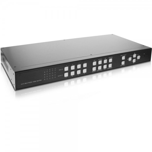 InLine® HDMI 4x4 Multi View Matrix / Videowand Switch, 4 Eingänge auf 4 Ausgänge, FullHD
