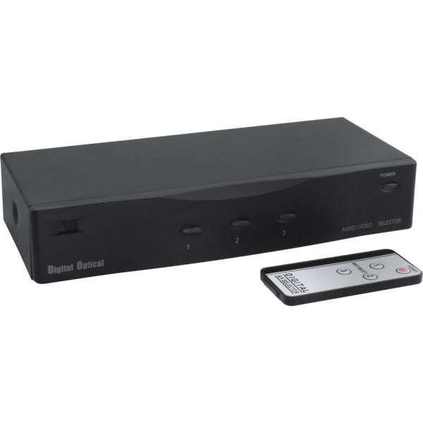 InLine® Audio Video Toslink Umschalter, elektronisch, 3-fach, mit Fernbedienung