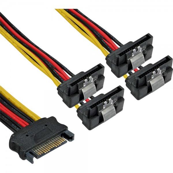 InLine® SATA Strom-Y-Kabel, SATA Buchse an 4x SATA Stecker gewinkelt, mit Sicherheitslaschen, 0,15m