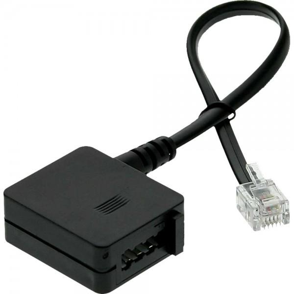 InLine® TAE Adapterkabel, RJ11 Stecker auf TAE-F Buchse, 0,2m