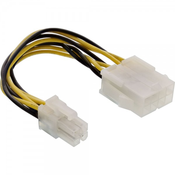 InLine® Stromadapter intern, 8pol ATX2.0 Netzteil (EPS) zu 4pol ATX1.3 Mainboard, 0,15m