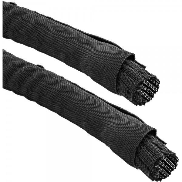 InLine® Kabelkanal, Geflechtschlauch mit Polyestergewebemantel, selbstverschließend in schwarz, 10mm Durchmesser , 5m