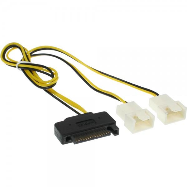 InLine® SATA Strom-Y-Kabel, SATA Buchse an 2x Lüfter (2pol) Stecker, 0,3m