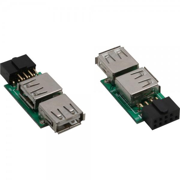 InLine® USB 2.0 Adapter, 2x Buchse A auf Pfostenanschluss