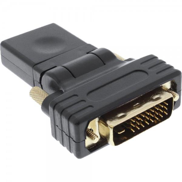 InLine® HDMI-DVI Adapter, HDMI Buchse auf DVI Stecker, flexibler Winkel, vergoldete Kontakte, 4K2K kompatibel