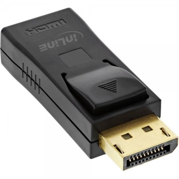 InLine® DisplayPort Adapter, DisplayPort Stecker auf HDMI Buchse, 4K/60Hz, mit Audio, schwarz