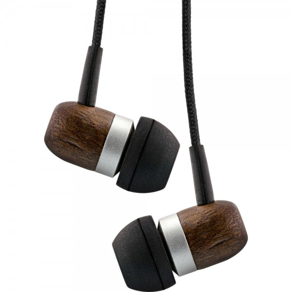 InLine® woodin-ear, In-Ear Headset mit Kabelmikrofon und Funktionstaste, Walnuß