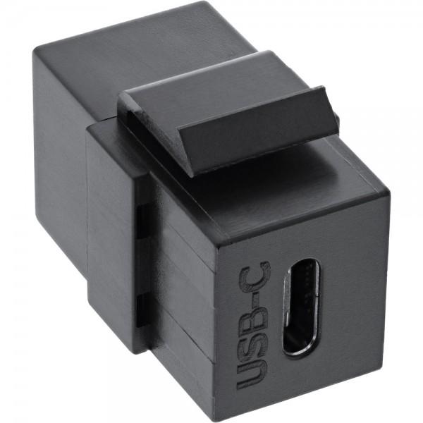 USB 3.1 Snap-In Einsatz, USB-C Buchse / Buchse, schwarz