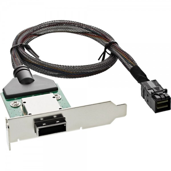 InLine® SAS HD low profile PCI Slotblech mit Kabel, ext. SFF-8088 auf int. SFF-8643, 0,5m